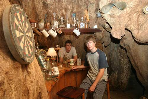 The interior of the pub in a baobab tree.Weirdass