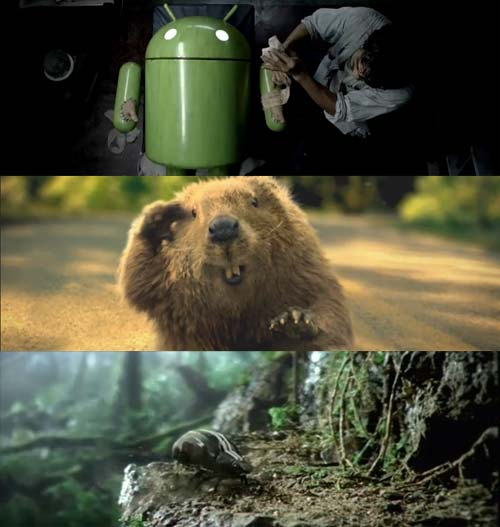 Ads of the superbowl 2011 Android, beaver and beetle