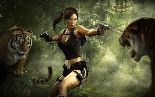 Lara Croft holding guns to Tigers