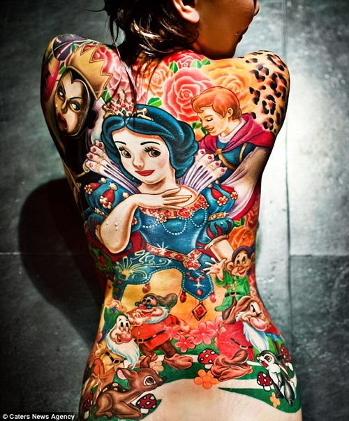 Amazing Full Back Snow White Tattoo - Annfaye Kao